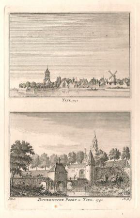 TIEL. De stad Tiel en de Burensche poort.