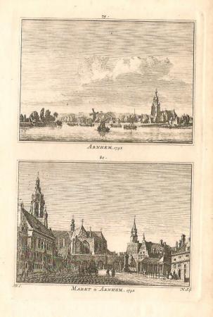 ARNHEM. Gezicht op Arnhem en de Markt.