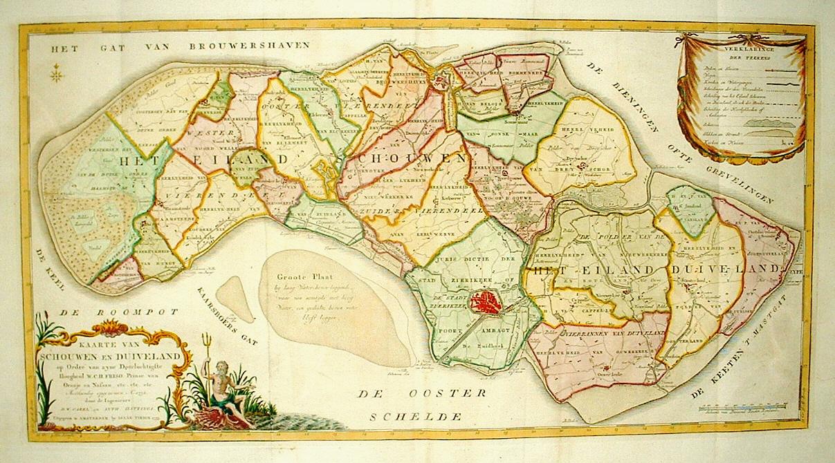 ZEELAND  Schouwen Duiveland    I Tirion Oudgekleurd exemplaar, 1753   Dat Narrenschip