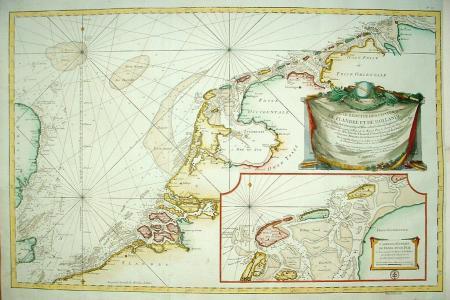 Nederlandse en Vlaamse kust met inzetkaart Texel, Vlieland en Terschelling.