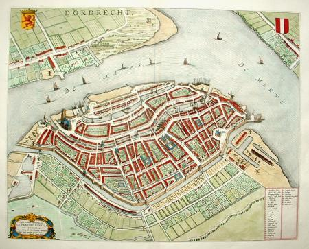 Dordrecht. Stadsplattegrond in vogelvluchtperspectief.