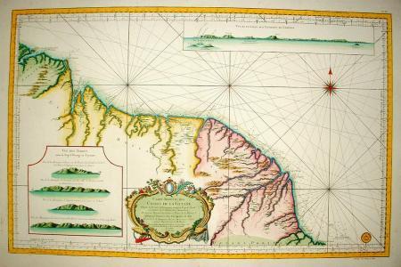 ZUID-AMERIKA. Guyana, Suriname en Frans Guyana. Zeekaart.