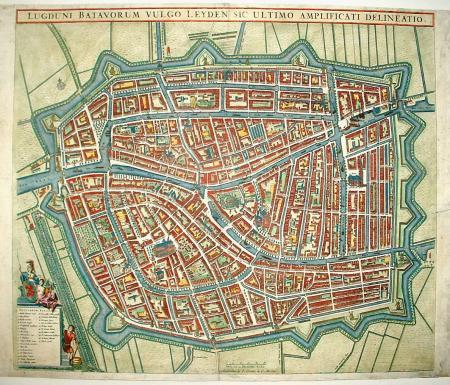 Leiden. Stadsplattegrond in vogelvluchtperspectief.