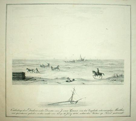TEXEL. Duikers bergen de lading van de bij Texel gestrande schoener Martha.