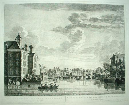 AMSTERDAM. Amstel, gezien vanaf Staalkade. Diaconie Weeshuis.