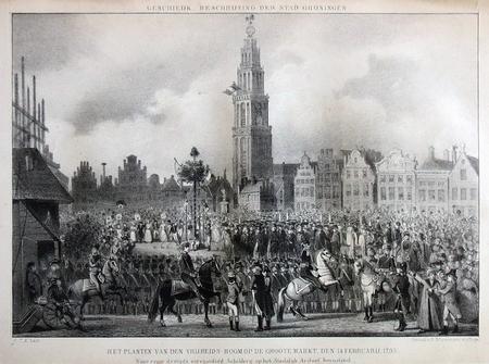 Groningen. Het planten van den Vrijheidsboom op de Groote Martk den 14 Februarij 1793
