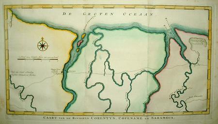 SURINAME. Westelijk kustgebied met de rivieren Corantijn, Coppename en Saramacca