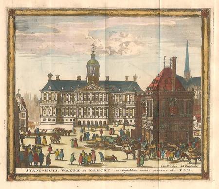 AMSTERDAM. Dam met stadhuis en Waag.