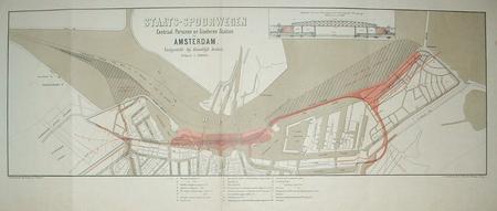 Amsterdam. Stationsplein. Centraal Station. Kaart met het bij Koninklijk Besluit vastgestelde ontwerp.
