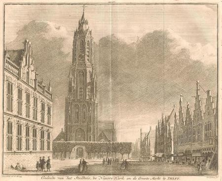 DELFT. Stadhuis, Nieuwe Kerk en Grote Markt