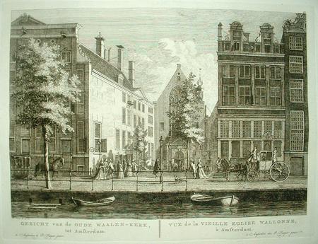 Amsterdam. Oudezijds Achterburgwal, Walenpleintje en Oude Waalse Kerk.