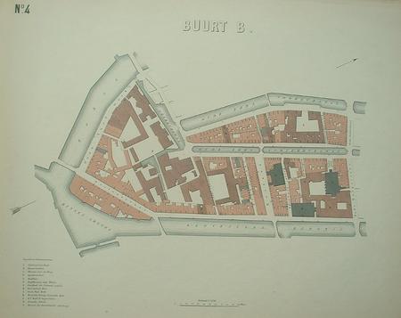 Amsterdam. plattegrond van Buurt B. Oudezijds Voor- en Achterburgwal/Rokin/Kloveniersburgwal.