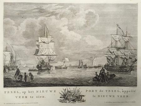 TEXEL. Gezicht op Texel bij het Nieuwe Veer. Zeilschepen op de voorgrond.