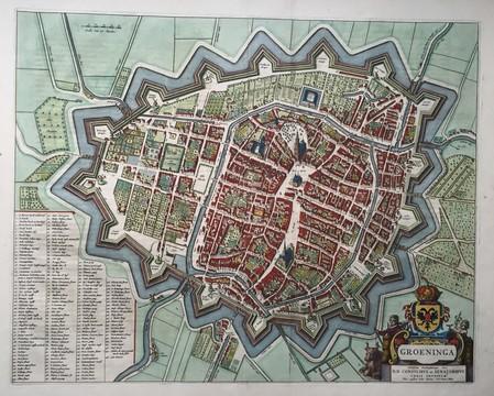 Groningen. Stadsplattegrond in vogelvluchtperspectief