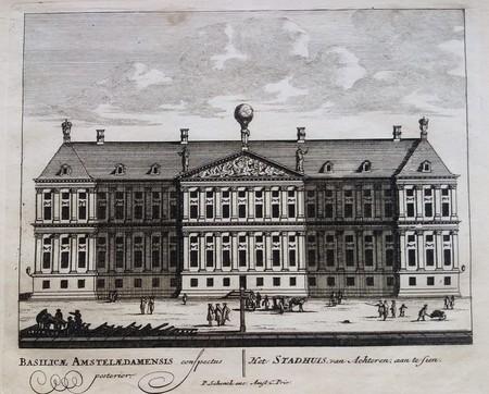 Amsterdam. Nieuwezijds Voorburgwal. Achtergevel Stadhuis. Koninklijk Paleis.