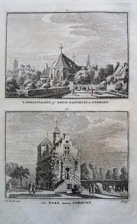 Utrecht. Buitenplaats Het Park / Kruisgasthuis met Dom links.