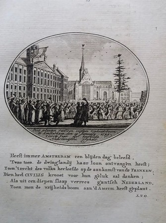 Amsterdam. A tree of Freedom being planted at the Dam. 1795