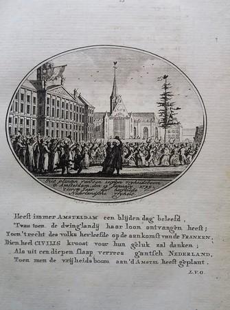 Amsterdam. Vrijheidsboom wordt geplant op de Dam.1795