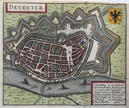 Deventer. Stadsplattegrond in vogelvluchtperspectief.