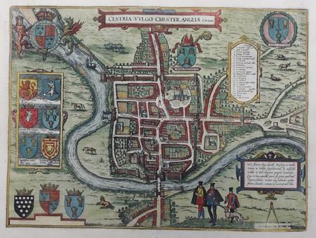 England. Chester. Bird's-eye plan.