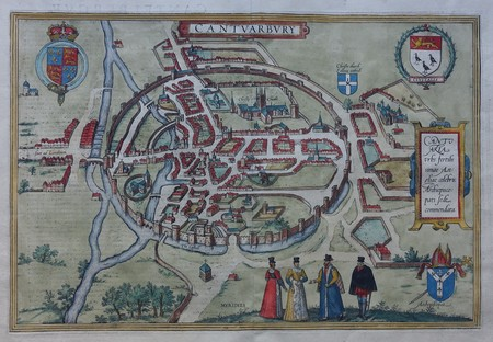 England. Canterbury. Bird's-eye plan.