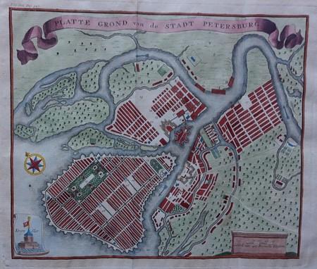 Rusland. Sint Petersburg. Stadsplattegrond.