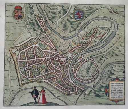 Luxembourg. Bird's-eye plan town.