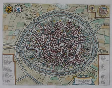 België. Brugge. Stadsplattegrond in vogelvluchtperspectief.