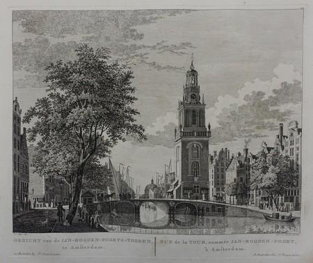 Amsterdam. Singel. Jan Rodenpoortstoren. At the horizon the New Lutheran Church.