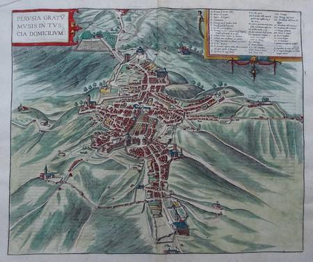 Italy. Perugia. Bird's-eye plan