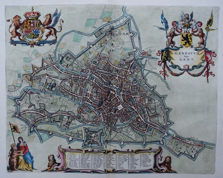Belgium. Ghent. Bird's-eye plan