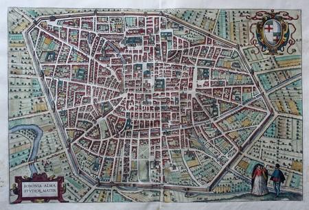 Italië. Bologna. Stadsplattegrond in vogelvluchtperspectief.