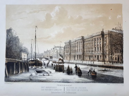 Amsterdam. Prinsengracht. The court of justice. Winter Scene.