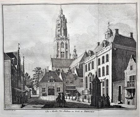 RHENEN. Markt, Stadhuis en kerk.