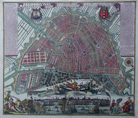 Amsterdam. Bird's-eye plan and view.