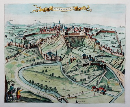 Luxemburg. Aanzicht van de stad in vogelvluchtperspectief.