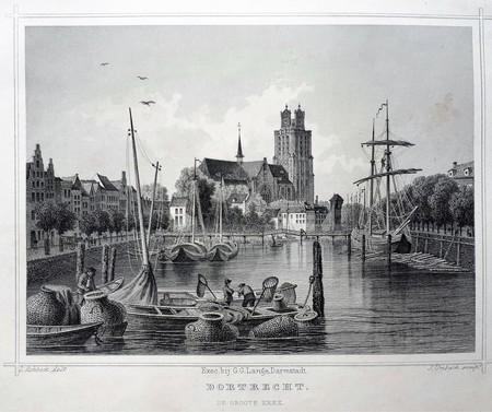 Dordrecht. Gezicht vanaf het water op de Grote Kerk.